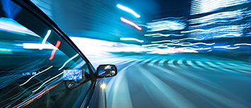 Car driving at night