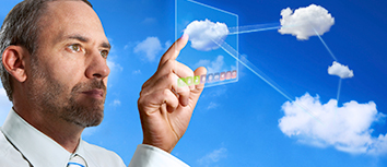 Man using technology cloud service